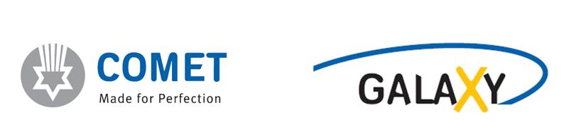 Unternehmenslogo COMET und Produktlogo GALAXY